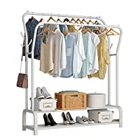 UDEAR Garment Rack Freestanding Hanger Double Rods Multi-functional Bedroom Clothing Rack, Double layer ,8 Hooks