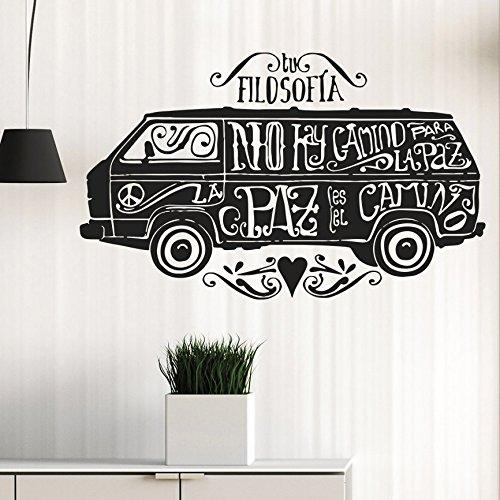 vinilo decorativo furgonetta hippie con mensajes de paz. Color negro.