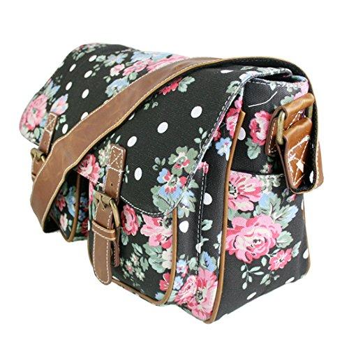 Miss LuLu Crossbody-Tasche Schulranzen Schultasche Tote Bag mit Drucken Damen Herren Canvas (L1157-Schmetterling/Grau) L1157-Blumen/Schwarz