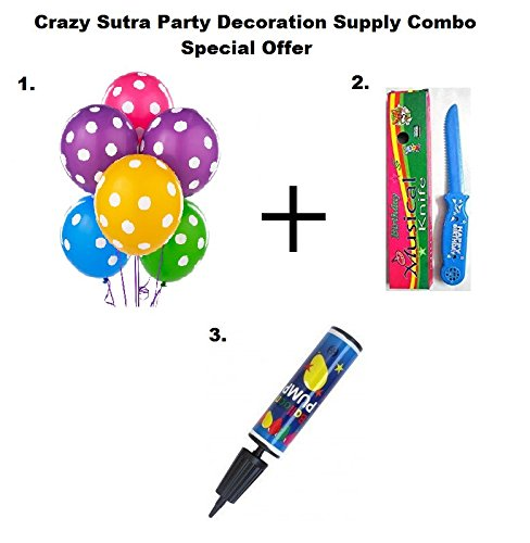 Crazy Sutra Party Decoration Supply Combo Special Offer: Colorful Polka Dot Printed Multicolor Balloon (Pack of 50) + Happy Birthday Musical Knife + Handy Air Balloon Pump/ Balloon Inflator