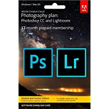 Adobe Creative Cloud Photography plan with 20GB Student Teacher Edition: Photoshop CC + Lightroom CC | 1 Year Licence | Key Card & Download