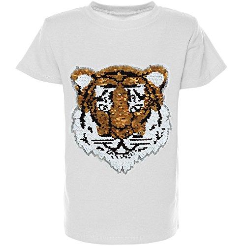 BEZLIT Jungen Wende-Pailletten T-Shirt Kurzarm Sommer Shirt Bluse 21328, Farbe:Weiß;Größe:104
