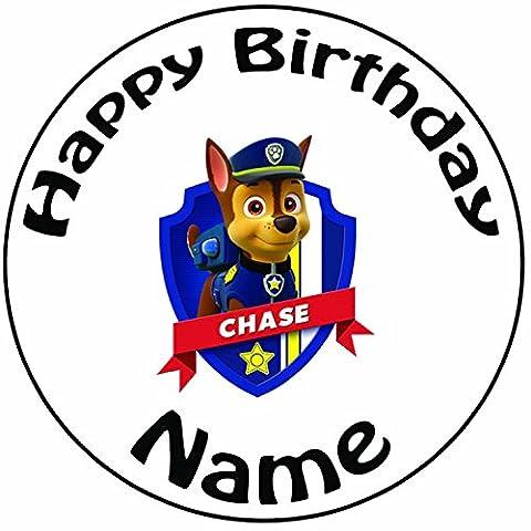 Décoration pour gâteau personnalisée Paw Patrol Chase–Un Rond prédécoupés 20,3cm Décoration Glaçage (20cm)