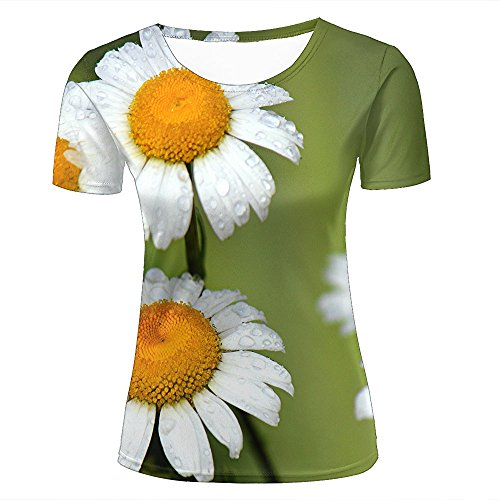 Damen Fashion 3D Print T-Shirts White Daisies and Dewdrops Graphics Summer Casual Short Sleeve Tees XL (Joe Farbe Face)