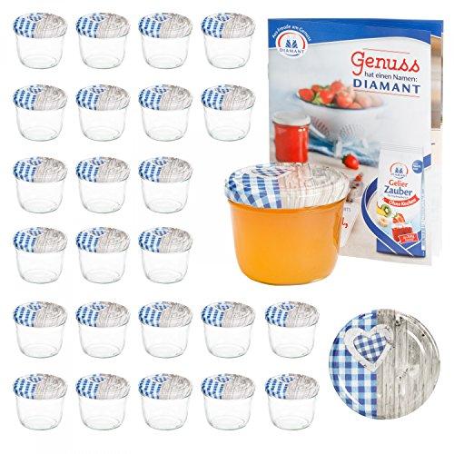 MamboCat 25er 230 ml Sturzglas-Set   Einmachgläser + Twist-Off-Deckel Holz-Herz blaukariert + Gratis Rezeptheft   einkochen & konservieren   backofengeeignet