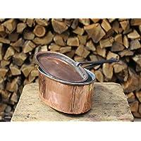 Pentola in rame ovale o rotonda con manico ferro stagnata fatta a mano