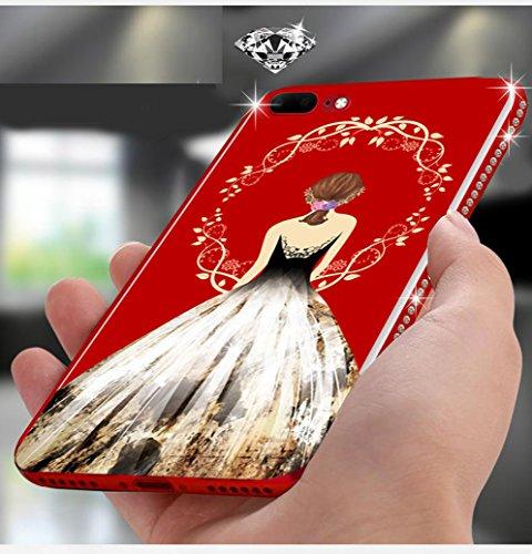 Coque iPhone 8,Manyip Coque Protection complète en cerclage à 360 °,La nouvelle main glissante Coque pour iPhone 8,Lovely cartoon girl,Décoration de diamants B