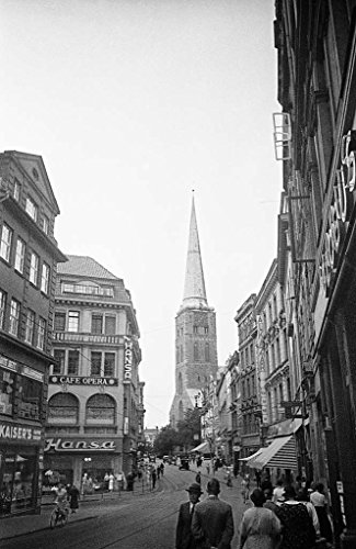poster-a3-sweden-street-life-and-st-jacobs-church-lubeck-street-life-and-st-jacobs-church-lubeck