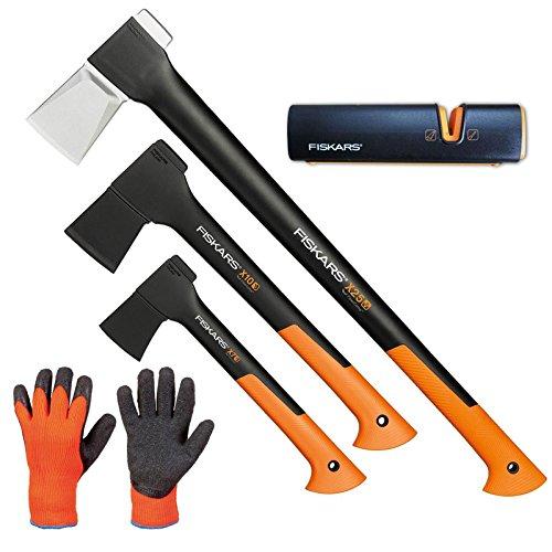FISKARS© Set Spaltaxt X25 - XL + X10 - S + X7 - XS + Xsharp Axt- und Messerschärfer + Handschuhe