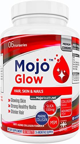 MOJOGLOW - Haar Haut & Nägel Ergänzungsmittel | Anti Alterungs Formel mit MSM, Vitamin C, Kollagen, Kieselsäure | Anti Falten & Haarwuchs Vitamine Für Männer & Frauen + Geld Zurück Garantie
