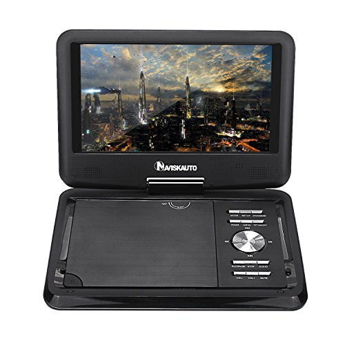 NAVISKAUTO 9 inch Portable DVD Player Wide View LCD Screen, Real 5 Hours Built-In Rechargeable Battery Support CD MP3 USB/SD, Include Headrest Mount Case Car Charger