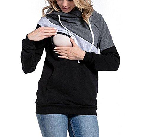AILIENT Damen Stillshirt Umstandsmode Kapuzenpullover Schwanger T-Shirt Maternity Shirt Umstandsshirt Stilltop Umstandstop Schwangere Sweatshirts Langarmshirt Hoodie