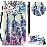 iPhone 6 Plus Hülle,iPhone 6S Plus Case Leder,WIWJ Prämie PU Klapphülle Leder Brieftasche [3D lackiertes Lederetui mit Lanyard]Schutzhülle für iPhone 6S Plus/iPhone 6 Plus-Drei Federwindspiele