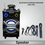 Trolley Portable Speaker With 1 Wireless Microphone & 1 Wire Microphone ,Music System Set / FM Radio / USB / Audio Input / Rechargeable Battery