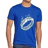 style3 Der Eine Ring Herren T-Shirt Fantasy, Farbe:Blau, Größe:5XL