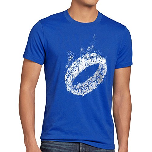style3 Der Eine Ring Herren T-Shirt Fantasy, Größe:S;Farbe:Blau