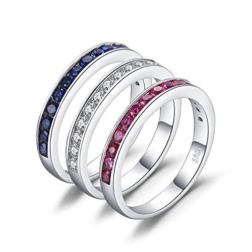 JewelryPalace Drei Stapel 1.8ct Runde Synthetische Rubin Saphir Zirkonia Versprechen Hochzeit Band Ewigkeit Ring Set 925 Sterling Silber (925 Silber Sterling Versprechen Ringe)