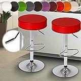 MIADOMODO Sgabelli da bar | in similpelle, con poggiapiedi, regolabile in altezza e il sedile girevole | set da 2 | nel colore rosso | mobili da bar, mobili da pranzo