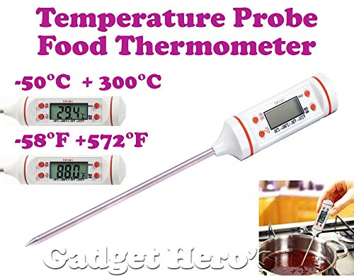 Gadget Hero's Pen Type Digital Food Probe Meat Thermometer Sensor BBQ Kitchen Cooking Tool. White.