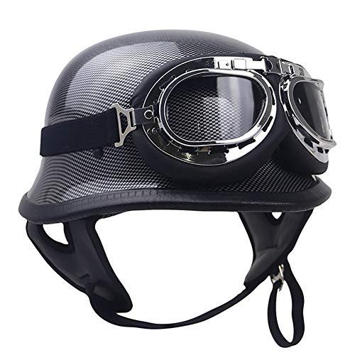 Z·Bling-Helmet Halber Motorradhelm,Oldtimer Motorradhelm mit Fliegerbrille Wehrmachtshelm (Schwarz matt) Bike Cruiser Scooter, DOT/ECE-Zulassung - Bling Dots
