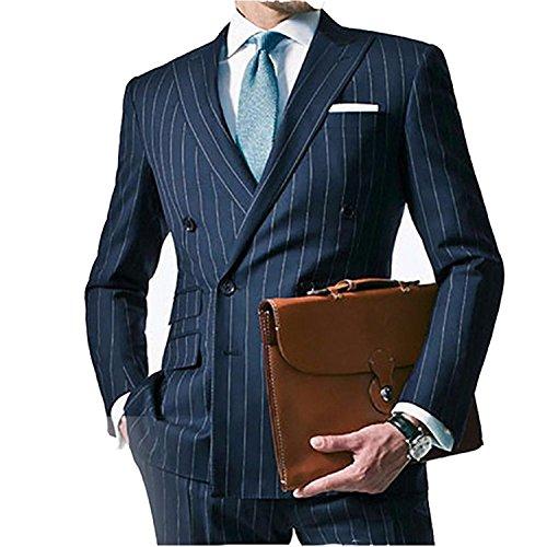 TPSAADE Kreide maßgeschneiderte Streifen 2 Stück Männer Anzug dunkelblau Herren gestreiften Anzug gemacht Double Breasted Herren Anzüge mit Ticket-Tasche (S) (Breasted Jeans Double)