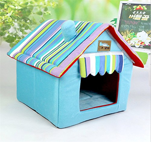 UMALL Warm und Funny Haustierbett Modernes Kuschelhöhle Gepolstert Hundebetten House-Design Hundehaus Katzenhaus Indoor Hundekissen Katzenbett (M=40*40*49cm, Blau)