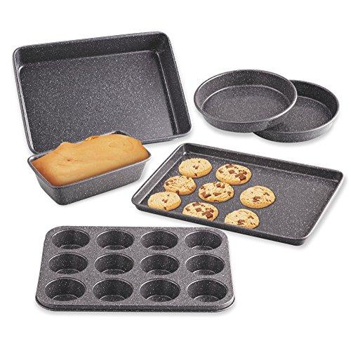 Cookmit 025856(mit Antihaft-Kuchen-/Muffin-/Brot Roast 6-piece Backgeschirr-Set, Edelstahl, Schwarz (Rachael Ray Schwarz)