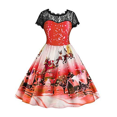 MIRRAY Damen Mädchen Kleider Spitze Kurzarm Weihnachten Schnee Gedruckt Vintage Swing Kleid...
