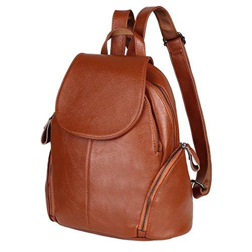 Vbiger Damen Rucksack Leder PU Backpack Schulrucksack für Frauen Braun