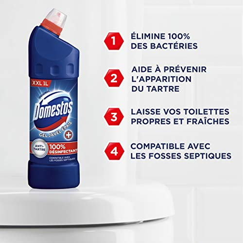Domestos Gel Nettoyant Wc Javel 100% Désinfectant Original 1L Lot de 3