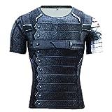 Camiseta de manga corta Born2Ride con diseño de superhéroe, ideal como ropa informal, para el gimnasio, para hacer ciclismo o como disfraz, talla XL, modelo Winter Soldier
