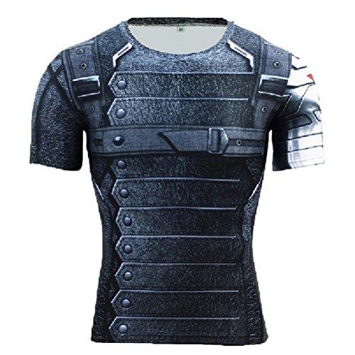 Superheld-Kostüm für Fitnessstudio/Radsport, Compression Baselayer T-Shirt mit kurzen Armen für Herren Gr. X-Large, Winter Soldier Man of Steel Short Sleeve (Superman Man Of Steel Kostüm)