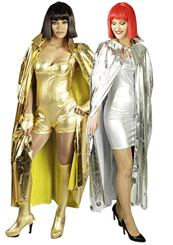 Party Umhang für Erwachsene | Silber | Vampir Umhang Unisex für Karneval | 1-teiliges Science Fiction Faschingskostüm
