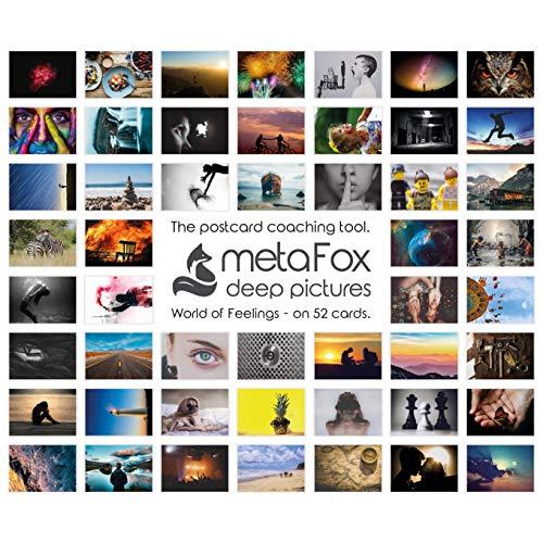 metaFox - GEFÜHLSWELTEN - Karten-Set der besonderen Art, mit 52 Karten - Kartenset Konversation Spiel Achtsamkeit Coaching Tool Motivationskarten Gefühlskarten Kommunikationstraining (Englisch)