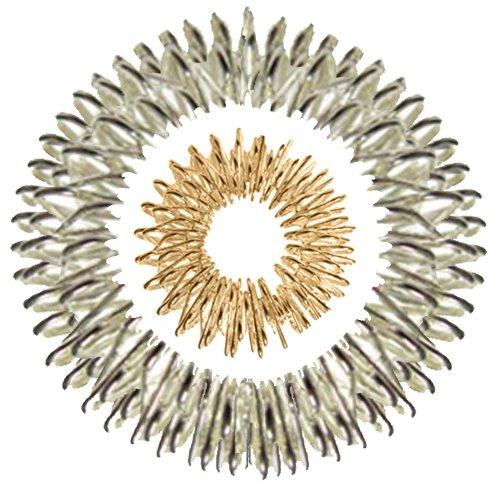 Akupressur-Set aus Massage-Ring (gold groß) und -Armband (silber) -