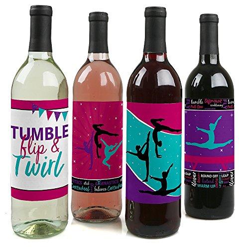 Tumble, Flip & Twirl-Gymnastik-Wein Flasche Geschenk Etiketten-Turnerin Party Wein Flasche Label Aufkleber-Set von 4