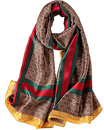 4d56a347d7 NUWEERIR Womens 100% Mulberry Silk Scarf Long Satin Scarf Fashion Designer  Scarf Lightweight Neck Wear  Amazon.co.uk  Clothing