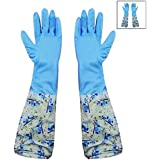 HOKIPO® Reusable PVC Flocklined Hand Gloves for Kitchen, Free Size, Elbow Length, 1 Pair