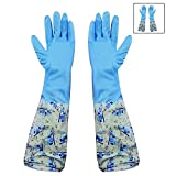 #10: HOKIPO Reusable PVC Flocklined Hand Gloves for Kitchen, Free Size, Elbow Length, 1 Pair