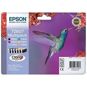 Epson Inkjet Cartidge Multipack Black and 5 Colours Ref T08074010 [Pack 6]