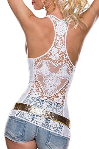 MYWY - maglia donna canotta donna t-shirt casual maglia lavorata maglia senza maniche Bianco