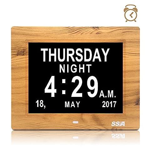 """Demenz-Tagesuhr, Gedächtnisverlust Digitalkalender-Tagesuhr, mit extra großem nicht abgekürztem Tag u. Monat. Perfekt für Senioren (8"""" wood)"""