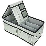 com-four® Geschenkband Box zum Aufbewahren von Geschenkband und Verpackungszubehör, Organizer in grau/schwarz, 36 x 20 x 15 cm