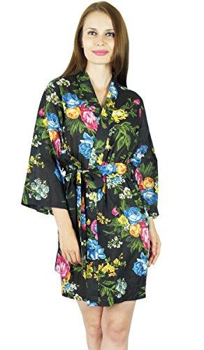 Bimba Frauen kurze Baumwollgewand Blumendruck fertig Brautjungfer robes- schwarz Schwarz
