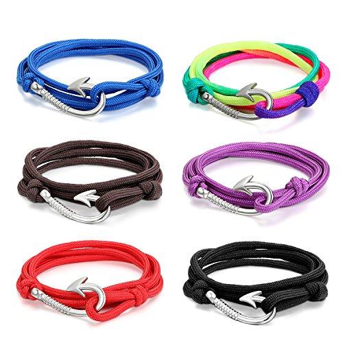 Cupimatch 6 Stücken Damen Herren Armbänder, Geflochten Punk Rock Armreifen, Leder Verstellbaren Größen Armband, braun schwarz Weiss - Womens Leder Slip