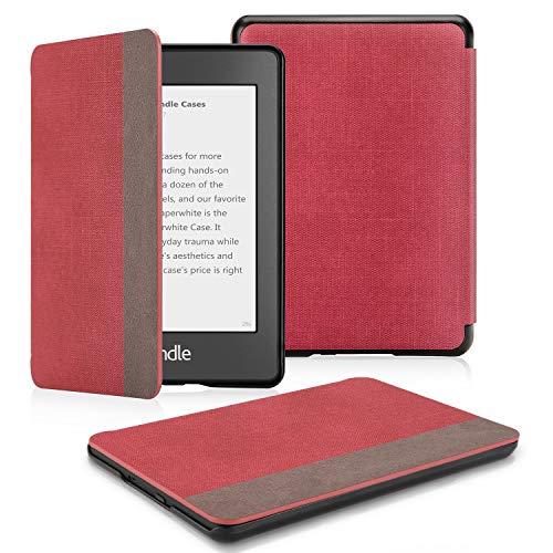 OMOTON Schutzhülle Kindle Paperwhite 2018 (10.Generation), Schlanke und leicht. PU-Leder Hülle, mit Auto Sleep/Wake Funktion, rot