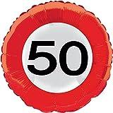 Folienballon * ZAHL 50 als VERKEHRSSCHILD * zum Geburtstag // Folien Ballon Party Helium Deko Ballongas Motto 50 fünfzig Jahre Glückwunsch