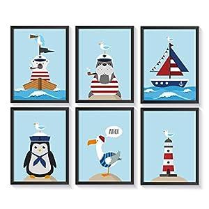 Bilder maritim Kinderzimmer   Kinderposter   Poster Set   A4 Kinderbilder   ohne Bilderrahmen