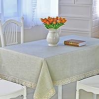 Rectangular Manteles encaje mantel de Antimanchas Impermeable Manteles Ambiente conveniente para La Tabla de cena de la familia, Picnic Al Aire Libre, Tienda De Café, Restaurante Del Hotel (Linen, 155X200cm)