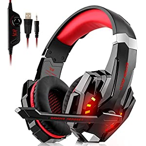 Upgrade Gaming Headset für Xbox One, PS4, PC Controller, DIZA100 Noise Cancelling, PC Gaming Kopfhörer mit Mikrofon, LED Lichter Blau/Weiß